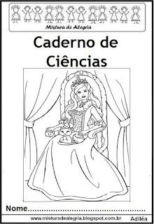 Capa para caderno ciências princesas