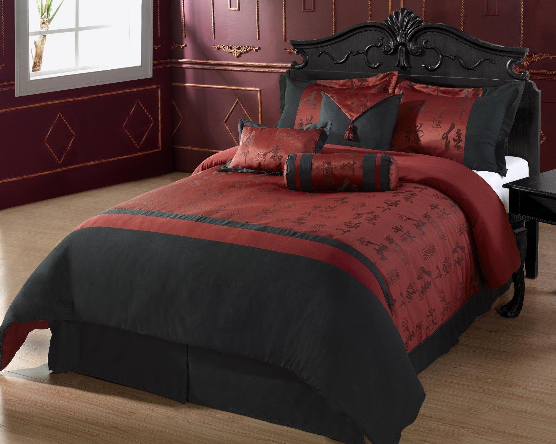 Burgundy Bedding: Burgundy and Black Comforter Bed Set Queen & King