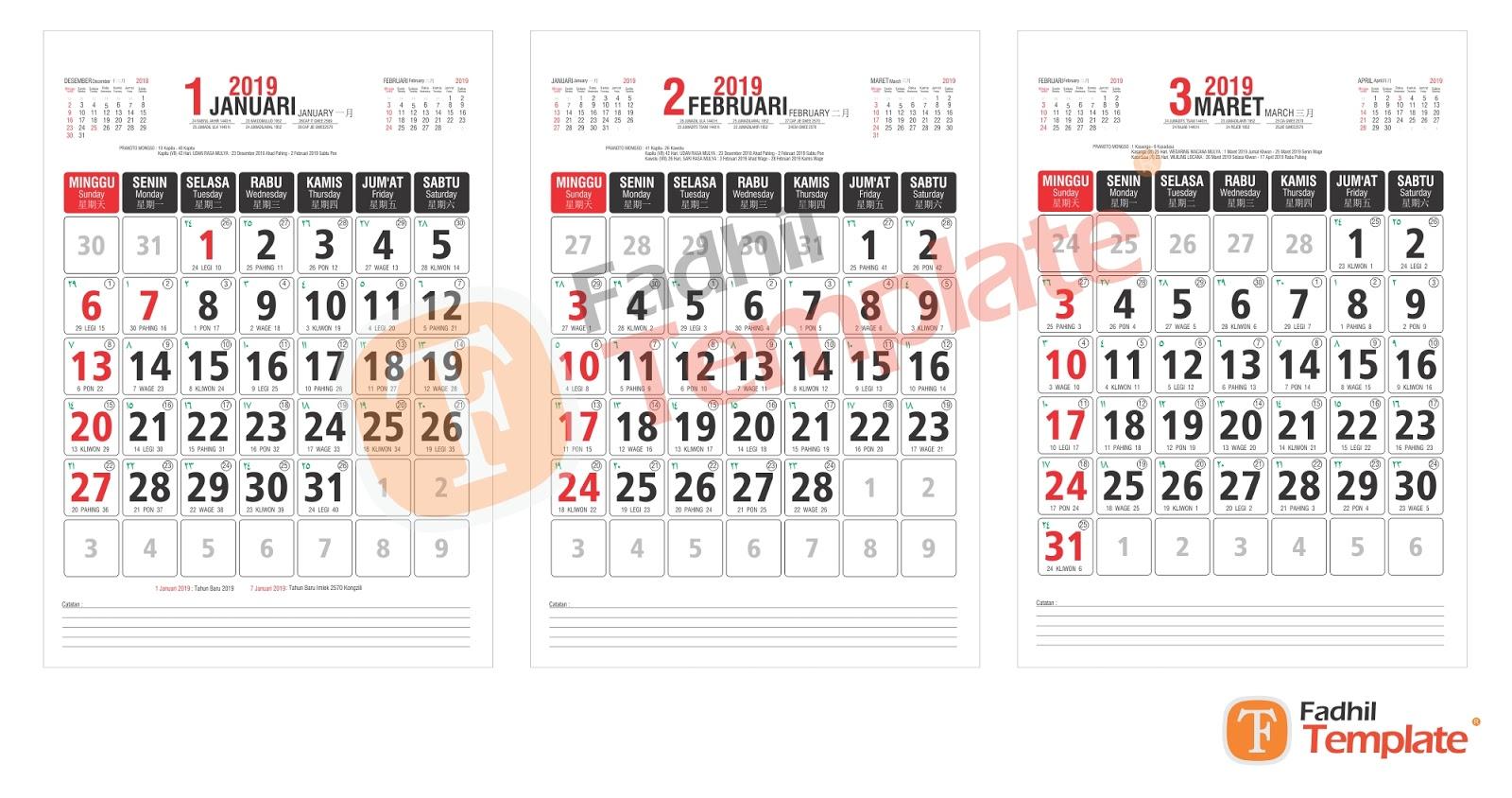 8 Desain Kalender Kerja 2019, Kalender Kantor, Kalender ...