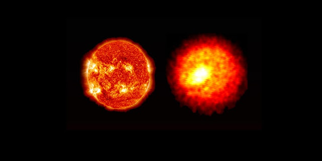 Despite staggering differences in mass and scale -- the sun (left) is approximately 10^38 times more massive and 10^13 times larger -- NIF implosions (right) are being used to recreate the conditions found in the deep interiors of stars so that they may be better understood. Credit: LLNL