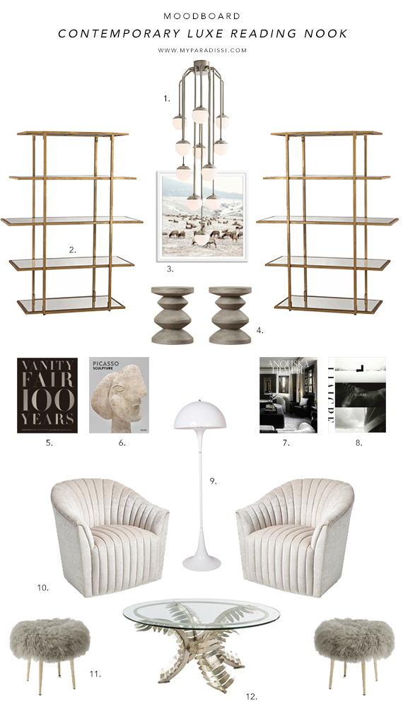 MOODBOARD: Contemporary luxe reading nook by My Paradissi