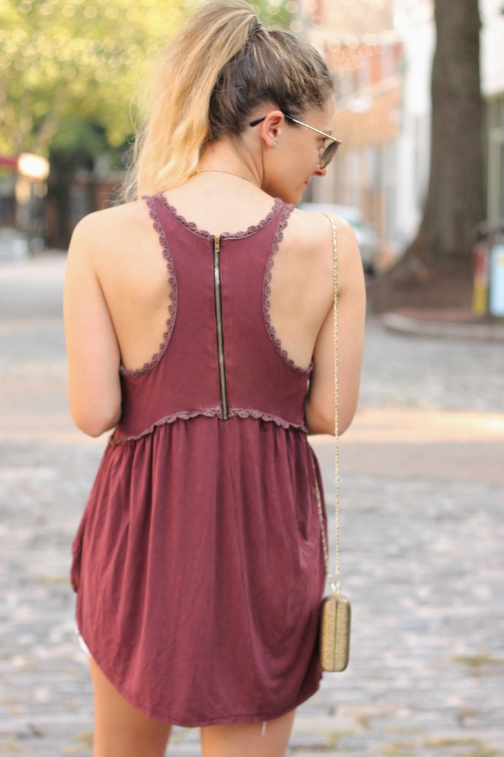 Garnet racerback tank top with crochet lace trim