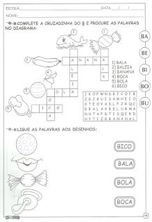Atividades de alfabetização letra b