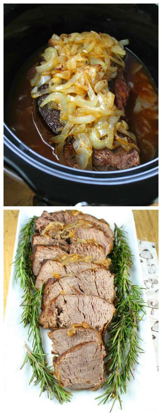 Crock Pot Beef Roast with Caramelized Onions from Miss in the Kitchen found on SlowCookerFromScratch.com