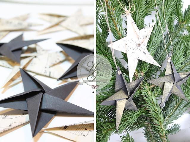 Origamistern als Christbaumanhänger oder Weihnachtsbaumschmuck