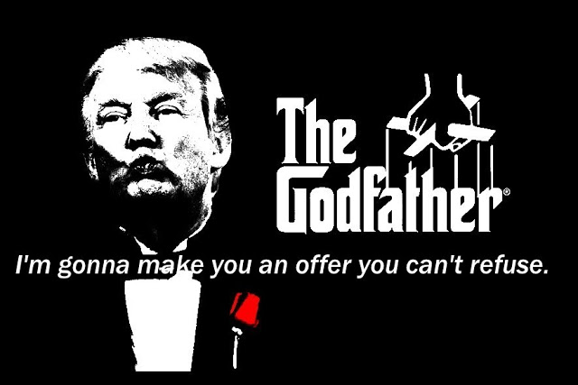 Trump parody poster. Trump as The Godfather. Memento Mori and YOL. Other stories of Trump and Megalomaniacs. marchmatron.com