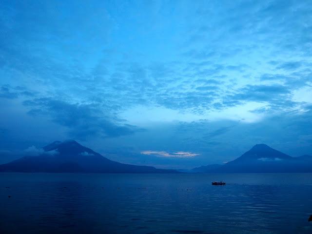 Sunset over the volcanoes of Lake Atitlan, Guatemala