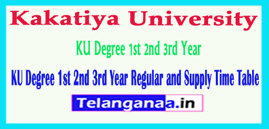 Kakatiya University KU Degree 1st 2nd 3rd Year Regular Supply Time Table 2019