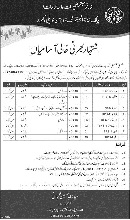 Latest Jobs  (2018) Public Health Engineering Division Latest Jobs