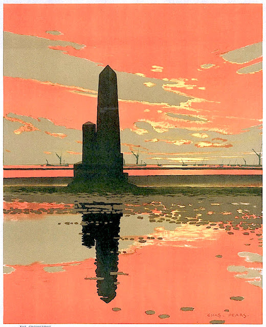 a 1929 Charles Pears poster illustration of a seaside tower in silhouette