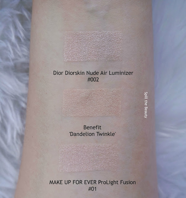 benefit dandelion twinkle highlighter review swatches comparison dupe make up for ever dior