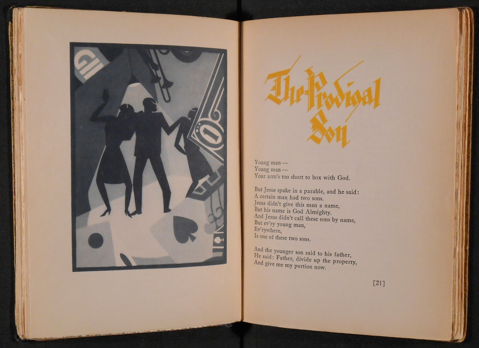 "A book open to the poem ""The Prodigal Son"" and a full-page illustration."