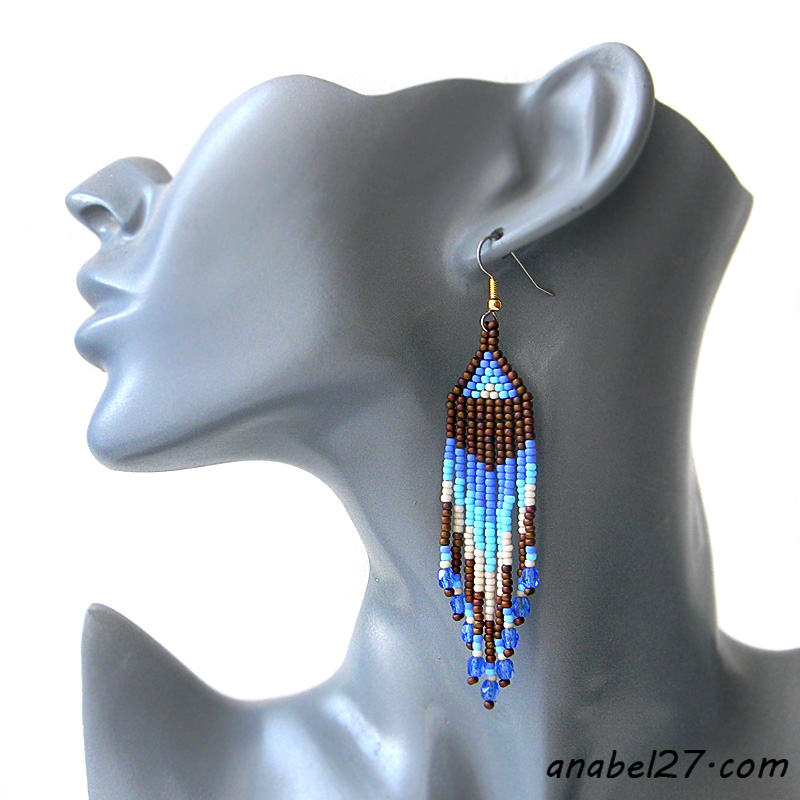купить красивые длинные серьги бижутерия этно украшения
