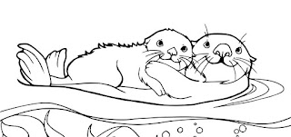 "Best Coloring Page Animal ""Baby Otter With Mother Otter"""