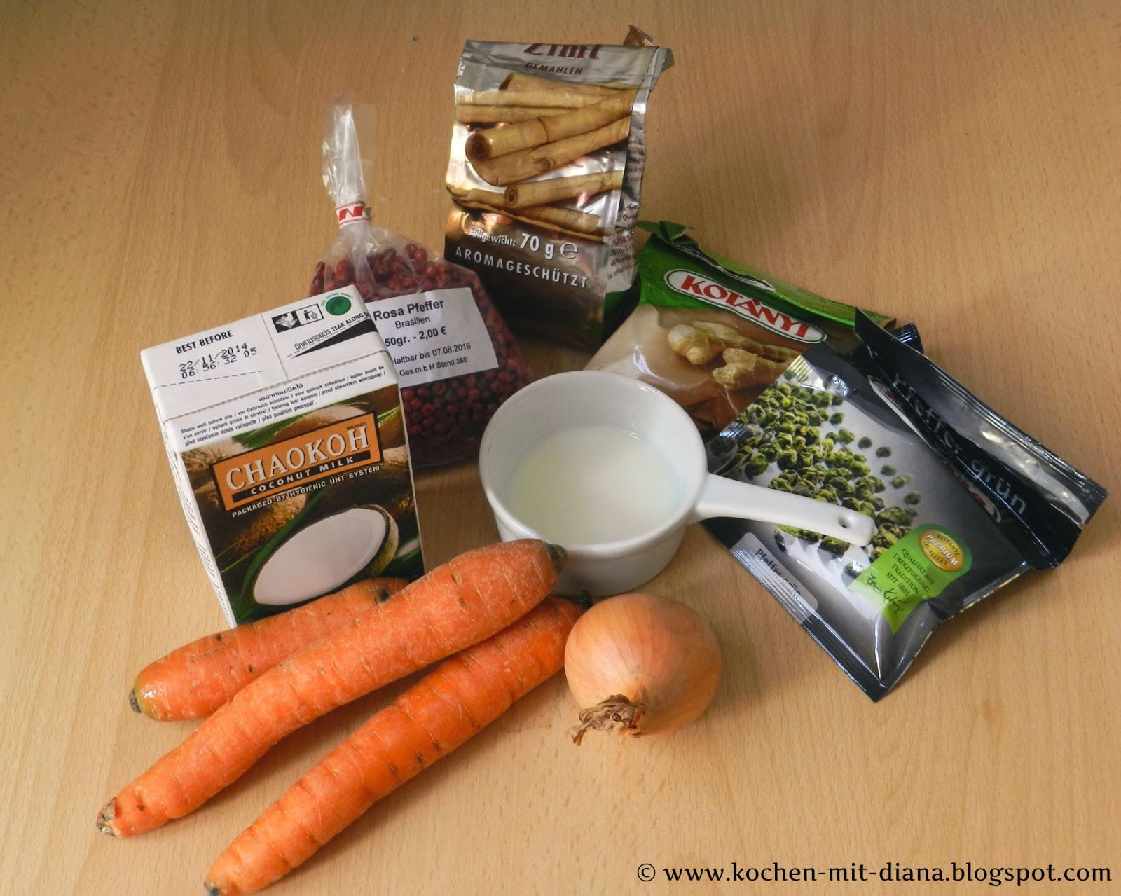 Zutaten Möhren-Ingwer-Suppe