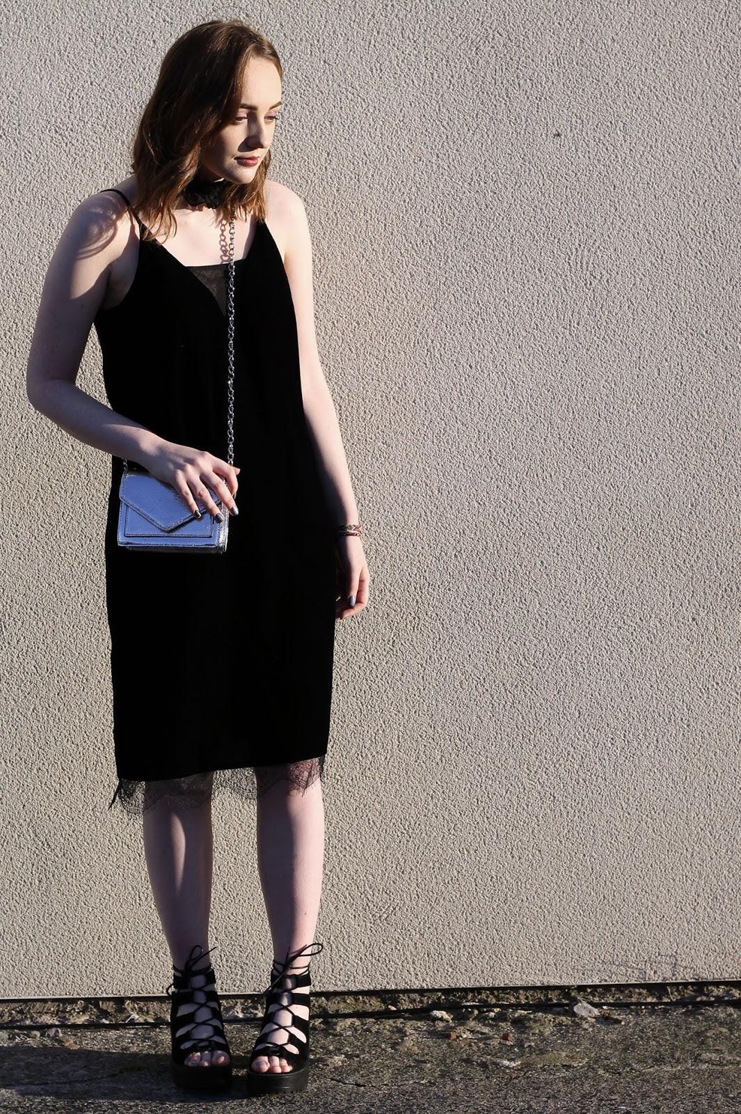 river island midi velvet slip dress and black lace up shoes