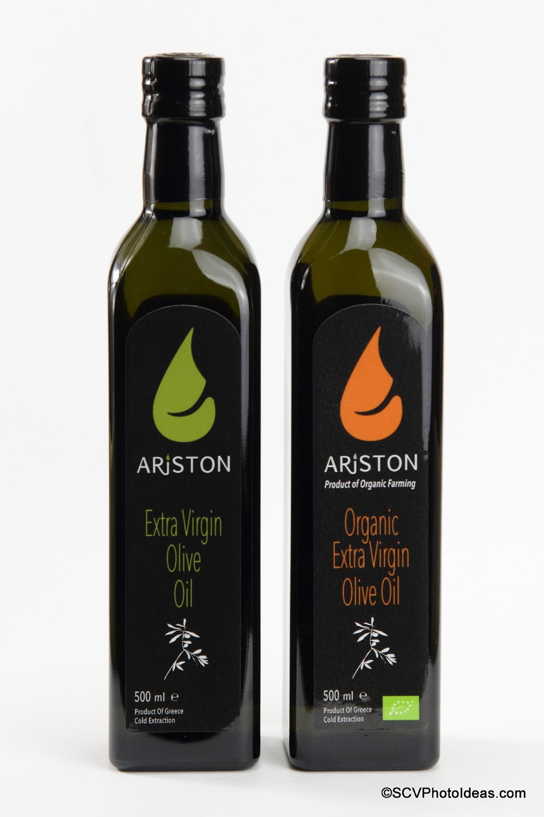 Ariston Extra Virgin Olive Oil & Organic Extra Virgin Olive Oil front -aside