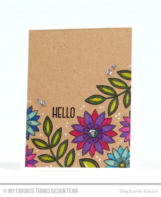 Handmade card from Stephanie Klauck featuring Funky Flowers and Lisa Johnson Designs Spring Wreath stamp sets and Blueprints 13 Die-namics #mftstamps