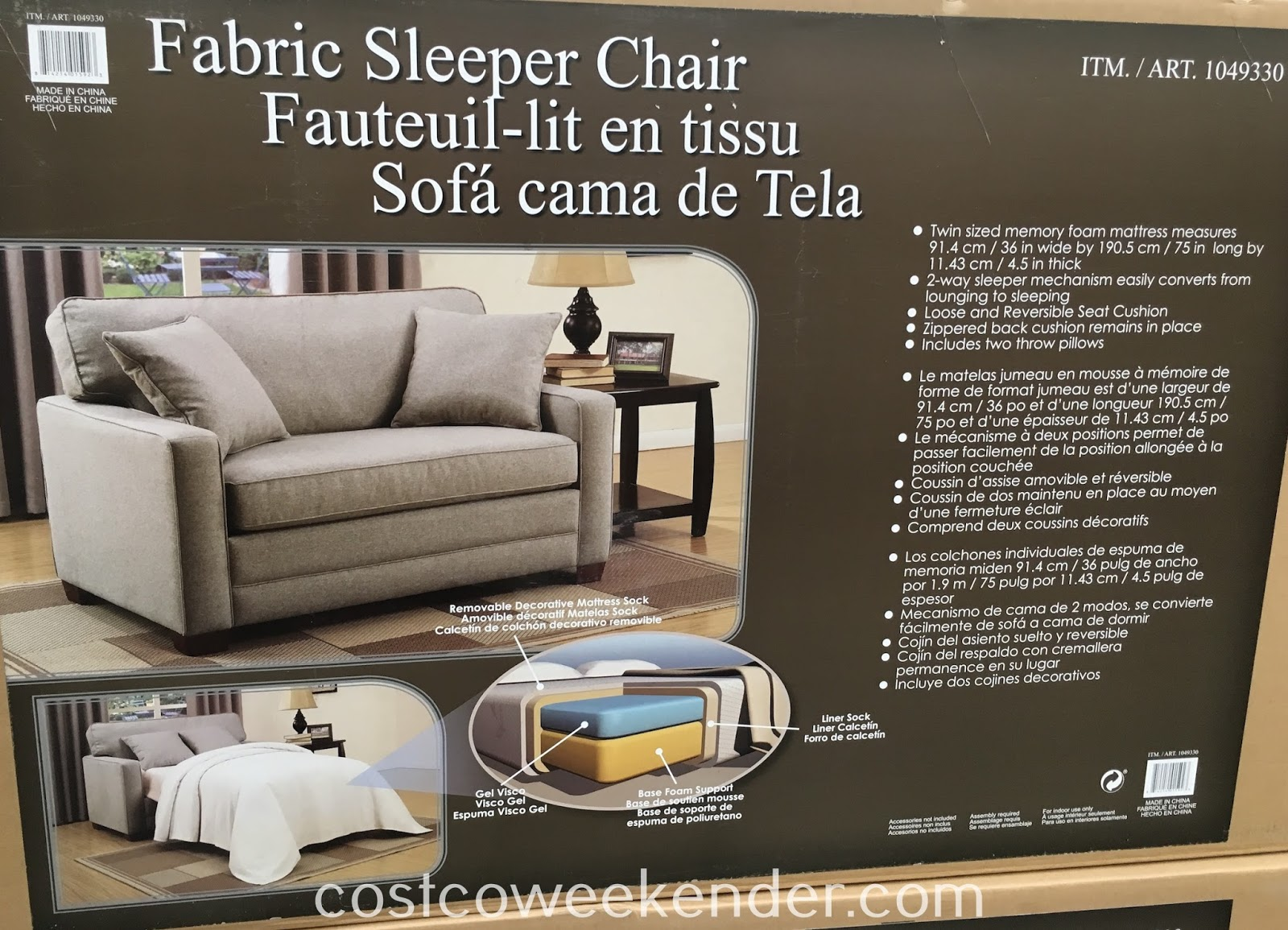 Synergy Home Fabric Sleeper Chair Costco Weekender