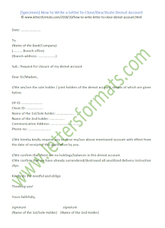 sample letter to close demat account