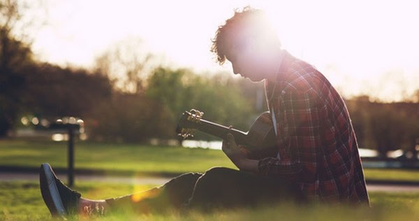 Cute Sad Alone Boy Playing Guitar Sunset