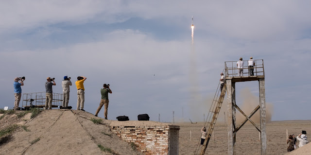 The Soyuz MS-09 rocket is launched with Expedition 56 Soyuz Commander Sergey Prokopyev of Roscosmos, flight engineer Serena Auñón-Chancellor of NASA, and flight engineer Alexander Gerst of ESA (European Space Agency), Wednesday, June 6, 2018 at the Baikonur Cosmodrome in Kazakhstan. Prokopyev, Auñón-Chancellor, and Gerst will spend the next six months living and working aboard the International Space Station. Photo Credit: (NASA/Joel Kowsky)