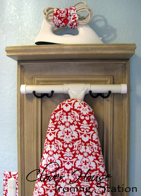 Ironing board storage for laundry room