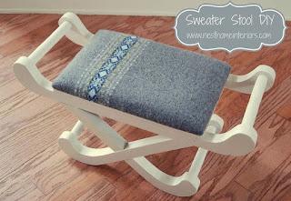 rinnovare uno sgabello con un maglione vecchio