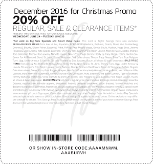 Lord & Taylor coupons december 2016