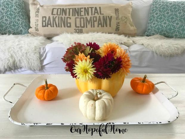 ceramic pumpkin vase fall flowers farmhouse tray