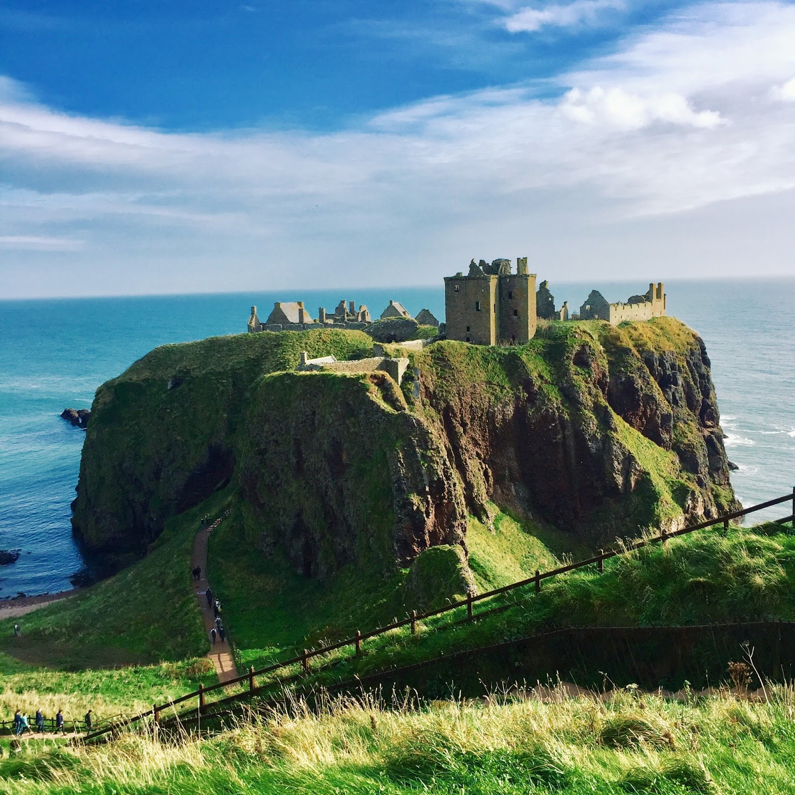 Dunnottar Castle Stonehaven on a sunny day
