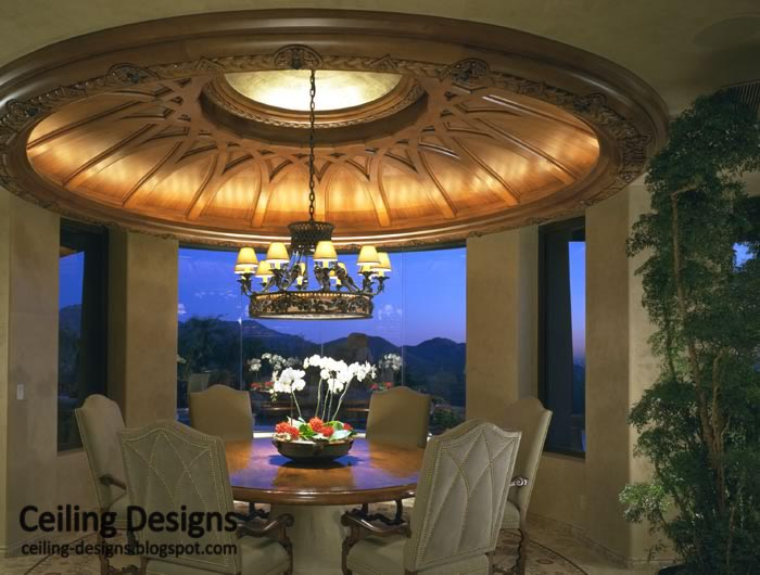 Decorative Tray Ceiling From Wood For Dinning Room