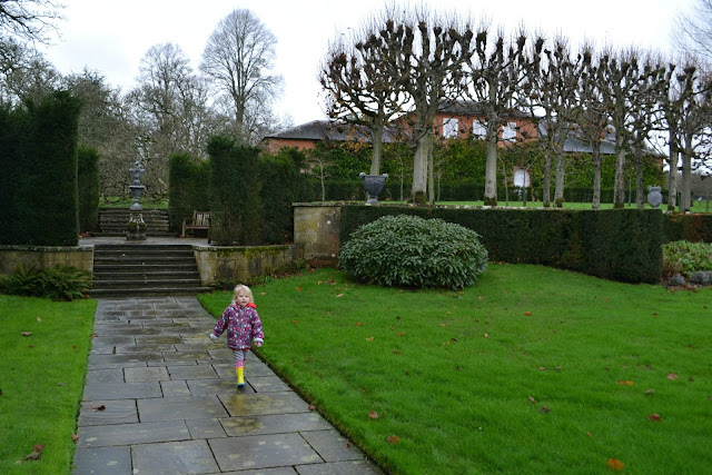 Tin Box Tot walking in the gardens at Mottisfont Abbey