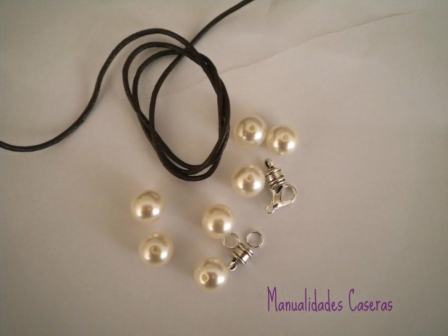 manualidades caseras faciles que cosas necesitamos para realizar pulsera de perlas y cuero