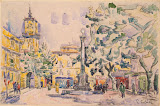 Square of the Hotel de Ville in Aix-en-Provence by Paul Signac - Cityscape, Landscape Drawings from Hermitage Museum
