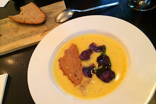 Potato soup with bread chips at Margarete, Frankfurt am Main, Germany