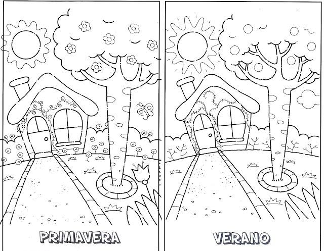 Dibujos De Las 4 Estaciones Para Colorear: PINTAR Y COLOREAR: Fichas De Estaciones
