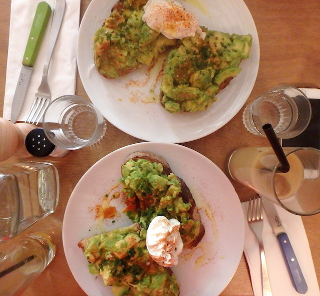 Avocado toast from Fragments coffee shop in Paris