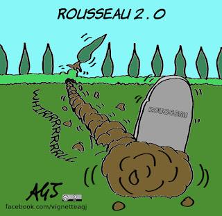rousseau, democrazia diretta, m5s, casaleggio, vignetta, satira