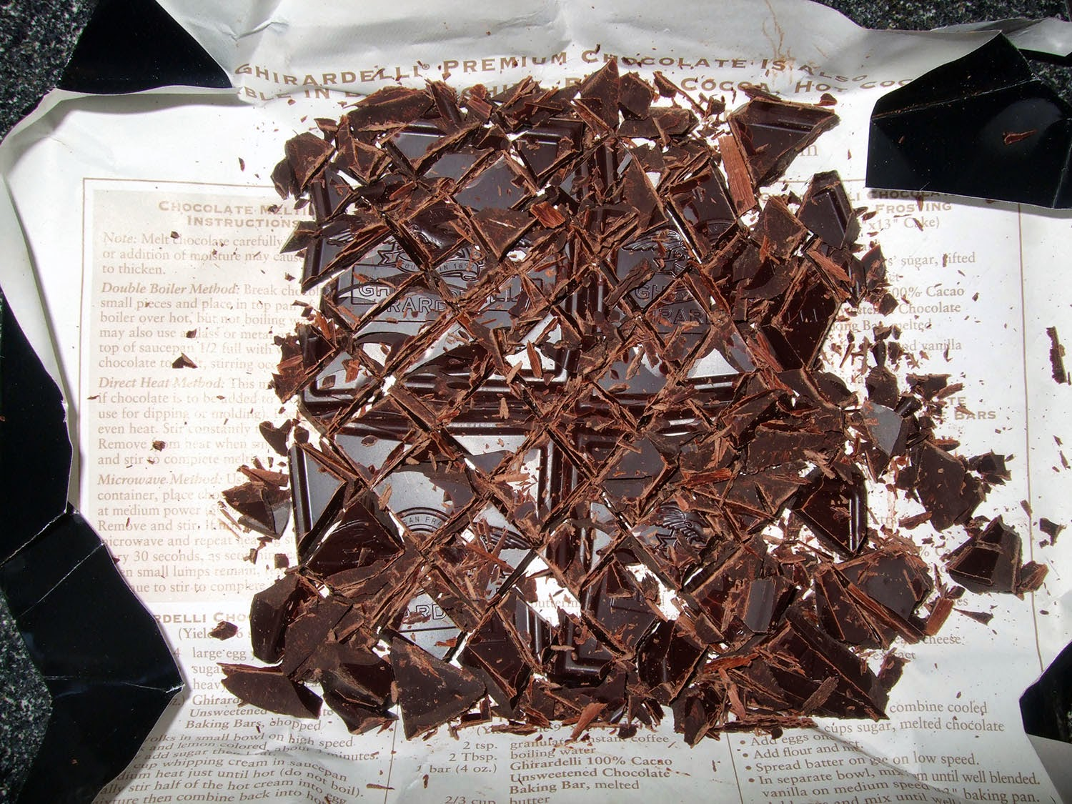 Chopped chocolate.