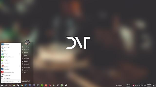 Làm trong suốt taskbar - Thay đổi giao diện Start trên Windows 10, Theme windows 10, Làm đẹp windows 10