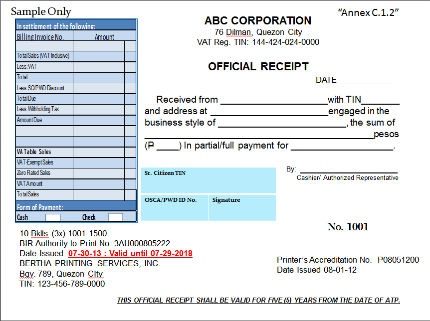 BIR responds to complaints on new Official Receipts Regulations – Sample Official Receipt