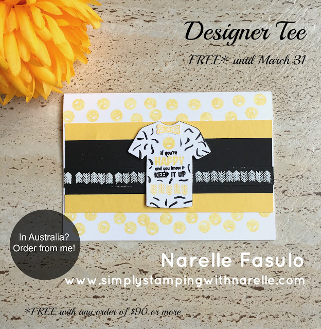 Designer Tee - FREE with a qualifying order until 31st March - Sale-A-Bration - Simply Stamping with Narelle - shop here - https://www3.stampinup.com/ecweb/default.aspx?dbwsdemoid=4008228