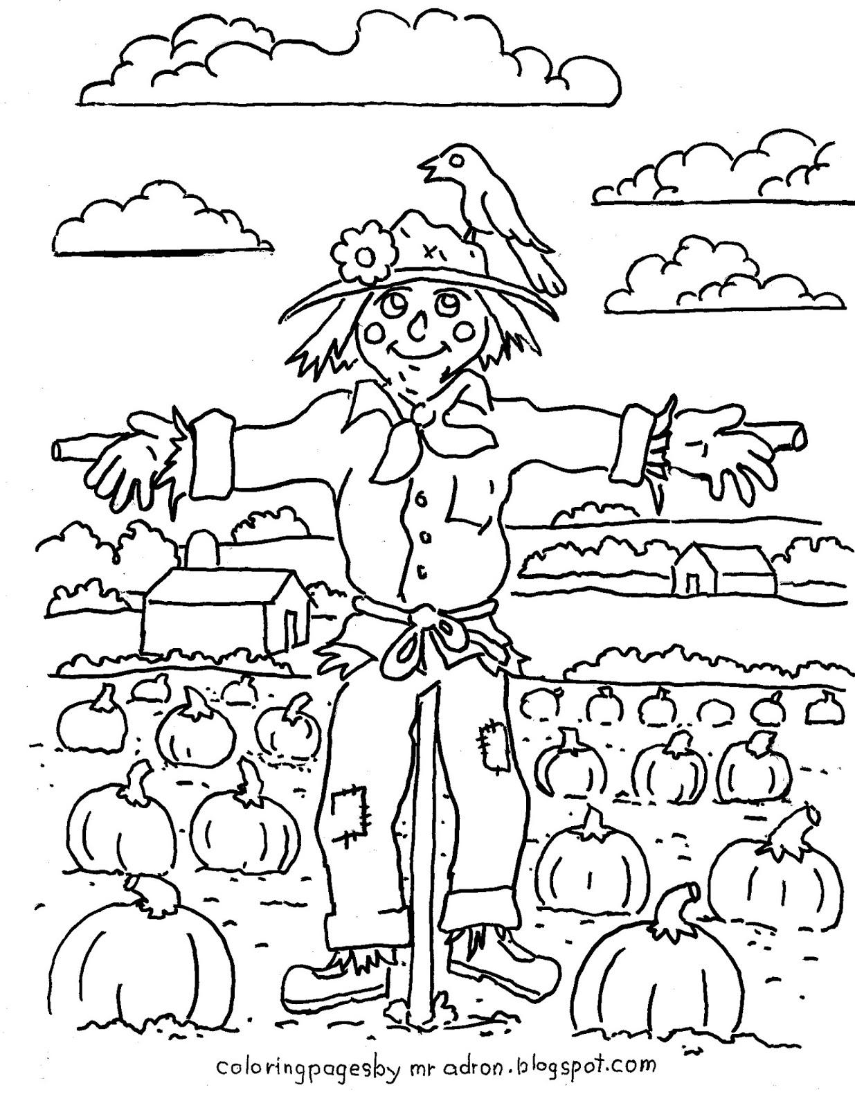 s is for scarecrow coloring pages - photo #50