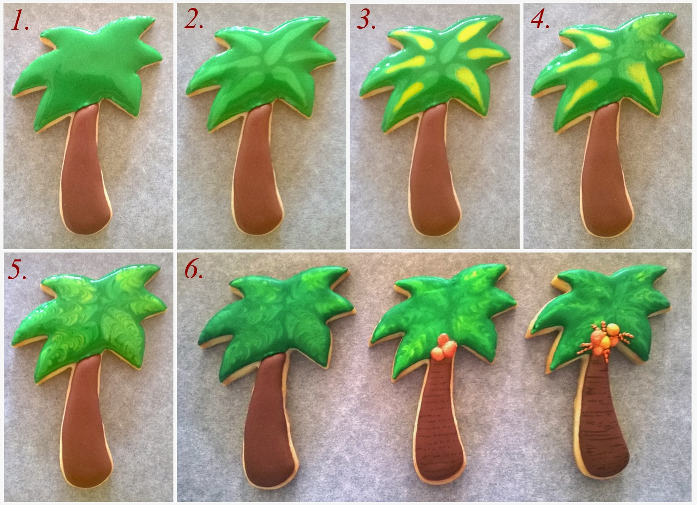 Coconut tree cookie tutorial