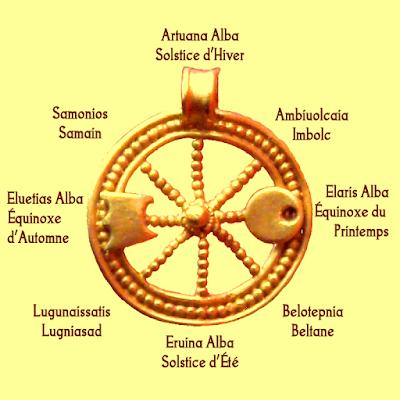 huit fêtes et roue de l'année celtique