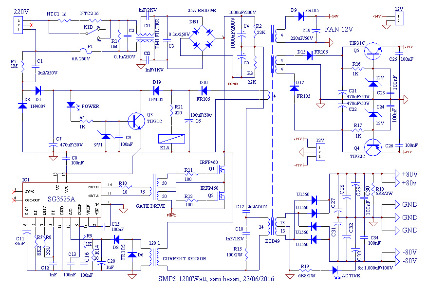 SMPS 1200 Watt for Power Amplifier - Electronic Circuit