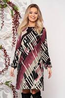 Rochie StarShinerS mov de zi din material tricotat cu croi larg si maneci lungi