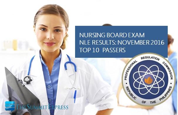 Top 10 Passers November 2016 NLE Nursing board exam
