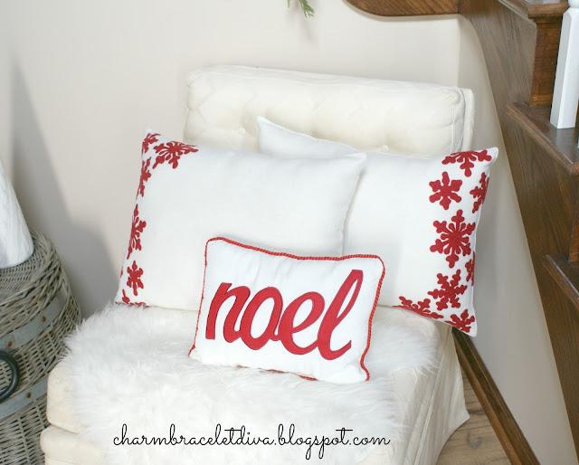red felt snowflakes noel christmas pillows